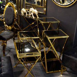 EUH - LW 3193 arany-fekete lerakóasztal levehető tálcával