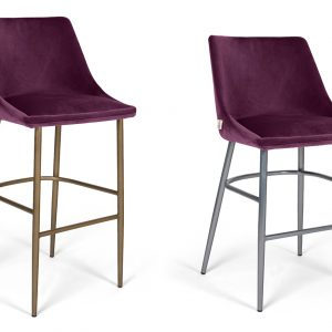 MOB - Alberta fém lábas középmagas bárszék 65 cm purple velvet